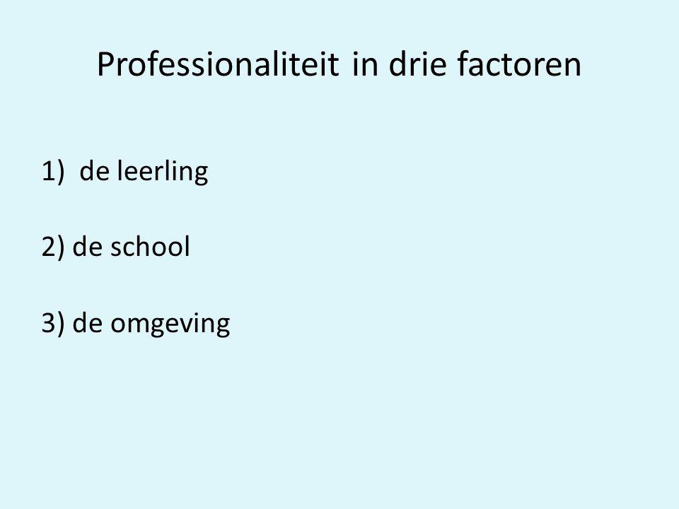 Professionaliteit in drie factoren 1)de leerling 2) de school 3) de omgeving