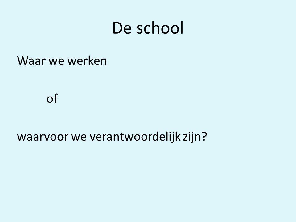 De school Waar we werken of waarvoor we verantwoordelijk zijn?