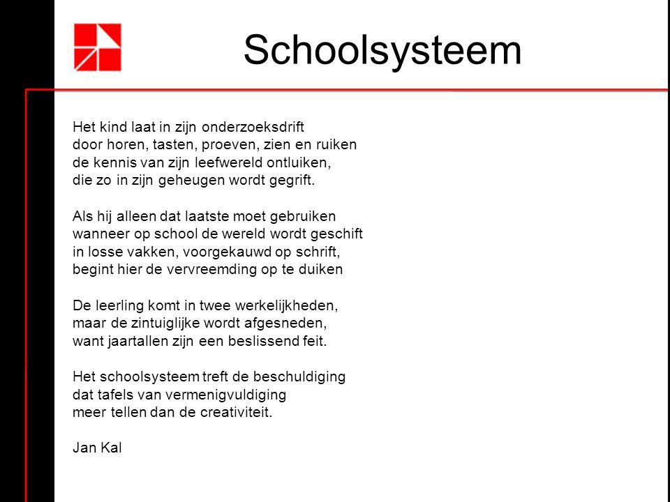 Schoolsysteem Het kind laat in zijn onderzoeksdrift door horen, tasten, proeven, zien en ruiken de kennis van zijn leefwereld ontluiken, die zo in zijn geheugen wordt gegrift.