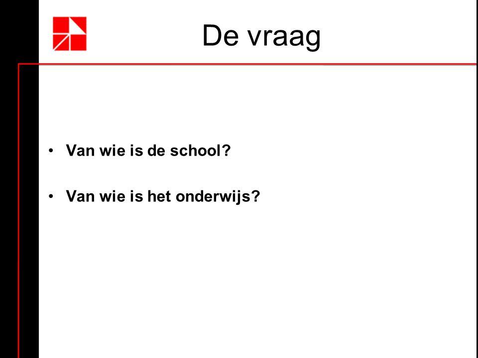 De vraag Van wie is de school? Van wie is het onderwijs?