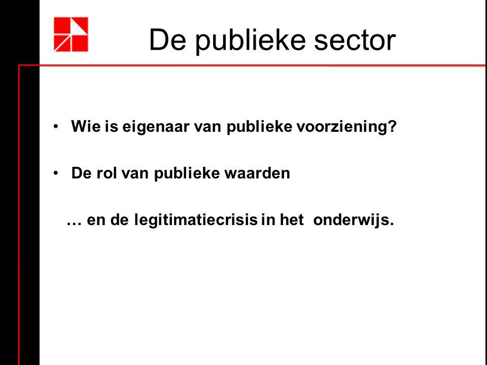De publieke sector Wie is eigenaar van publieke voorziening? De rol van publieke waarden … en de legitimatiecrisis in het onderwijs.