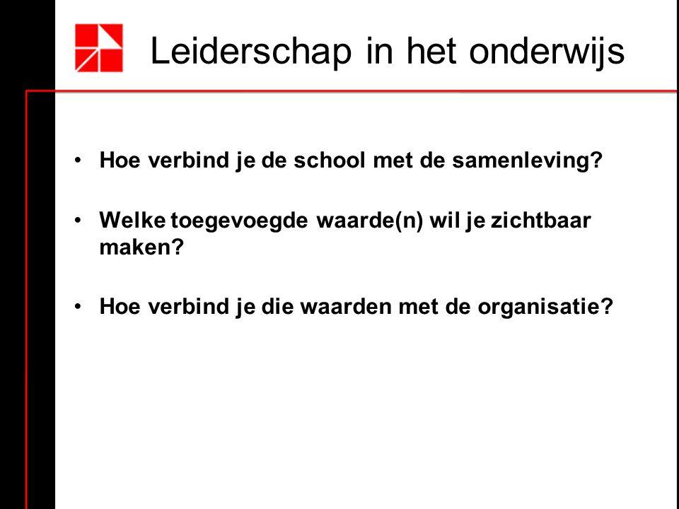 Leiderschap in het onderwijs Hoe verbind je de school met de samenleving? Welke toegevoegde waarde(n) wil je zichtbaar maken? Hoe verbind je die waard
