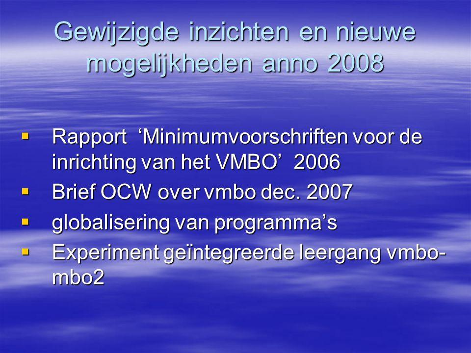 Gewijzigde inzichten en nieuwe mogelijkheden anno 2008  Rapport 'Minimumvoorschriften voor de inrichting van het VMBO' 2006  Brief OCW over vmbo dec.