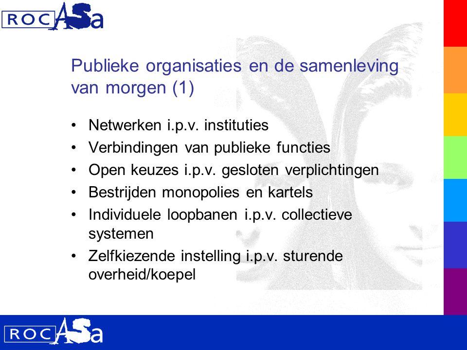 Publieke organisaties en de samenleving van morgen (2) Van landelijk beleid naar regionale arrangementen Bestuurlijke i.p.v.