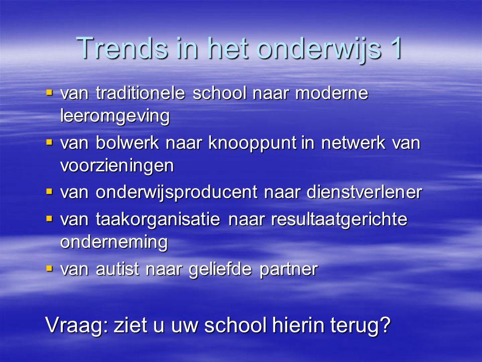 Trends in het onderwijs 1  van traditionele school naar moderne leeromgeving  van bolwerk naar knooppunt in netwerk van voorzieningen  van onderwij