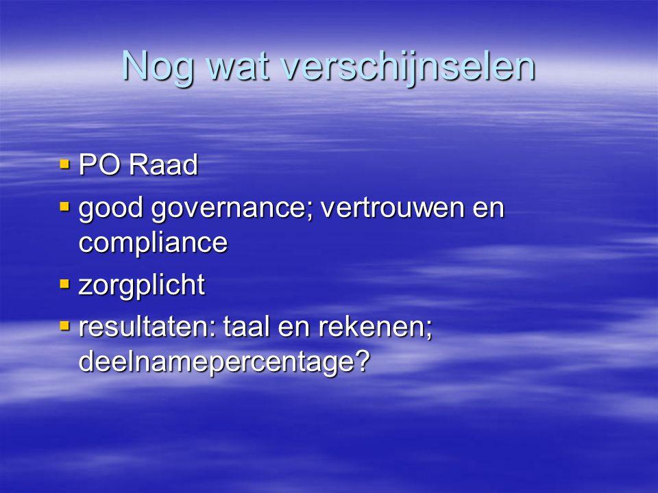 Nog wat verschijnselen  PO Raad  good governance; vertrouwen en compliance  zorgplicht  resultaten: taal en rekenen; deelnamepercentage?