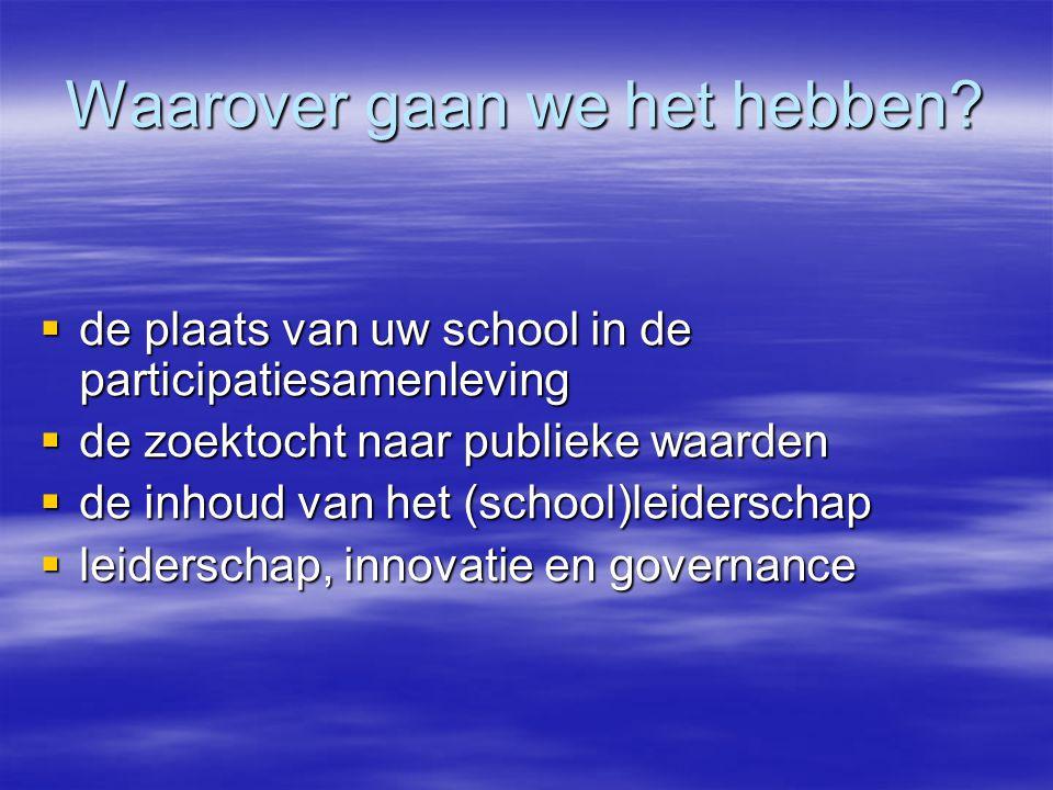 Waarover gaan we het hebben?  de plaats van uw school in de participatiesamenleving  de zoektocht naar publieke waarden  de inhoud van het (school)