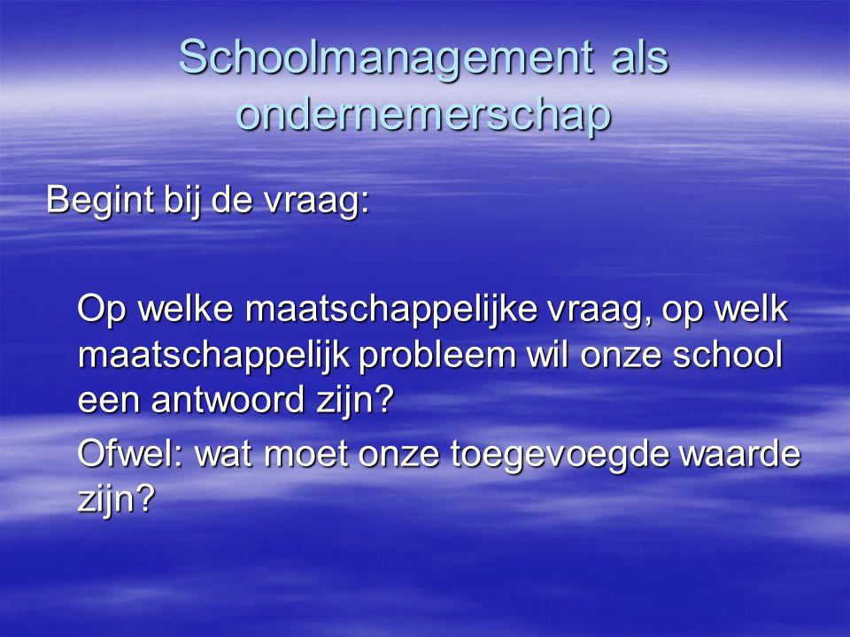 Schoolmanagement als ondernemerschap Begint bij de vraag: Op welke maatschappelijke vraag, op welk maatschappelijk probleem wil onze school een antwoord zijn.