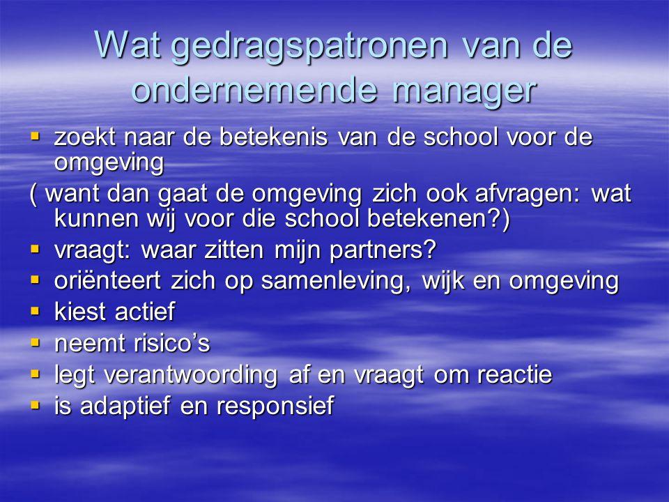 Wat gedragspatronen van de ondernemende manager  zoekt naar de betekenis van de school voor de omgeving ( want dan gaat de omgeving zich ook afvragen