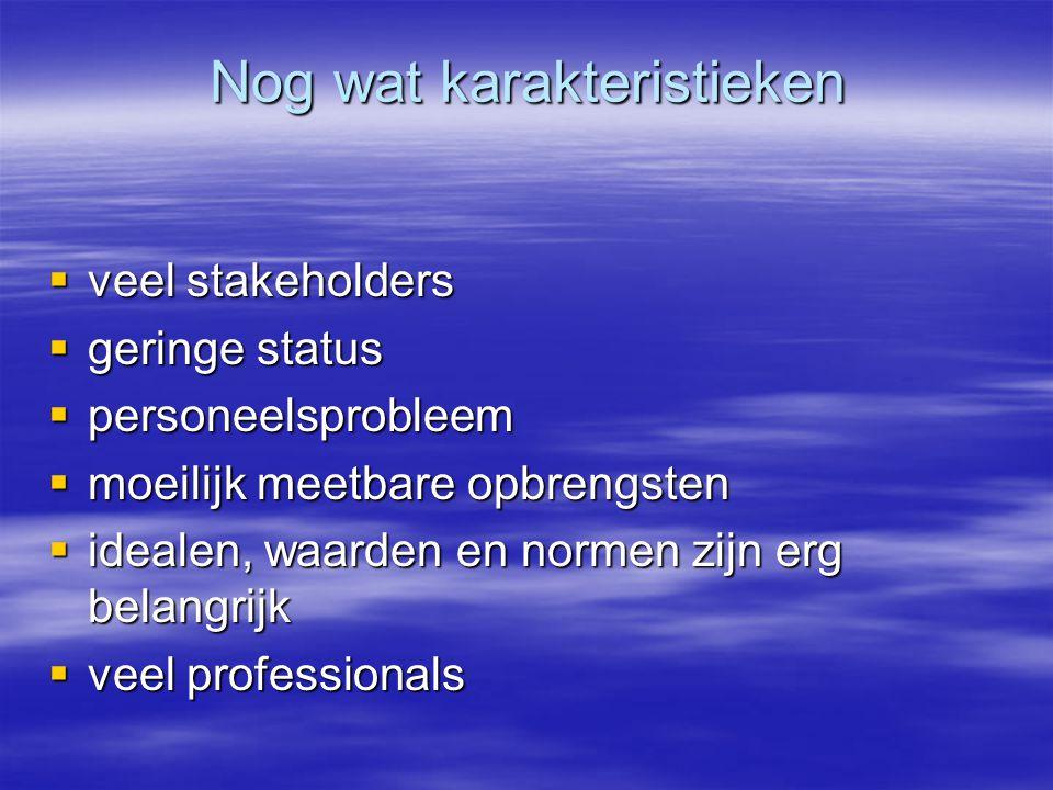 Nog wat karakteristieken  veel stakeholders  geringe status  personeelsprobleem  moeilijk meetbare opbrengsten  idealen, waarden en normen zijn erg belangrijk  veel professionals