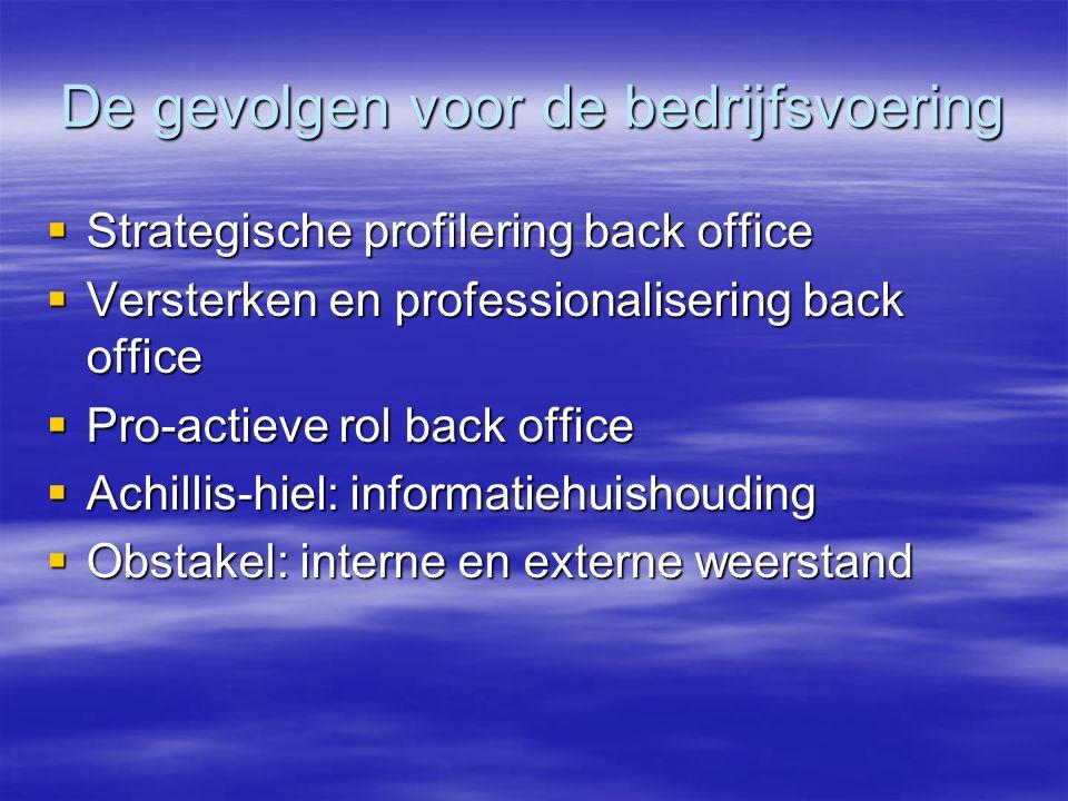 De gevolgen voor de bedrijfsvoering  Strategische profilering back office  Versterken en professionalisering back office  Pro-actieve rol back office  Achillis-hiel: informatiehuishouding  Obstakel: interne en externe weerstand