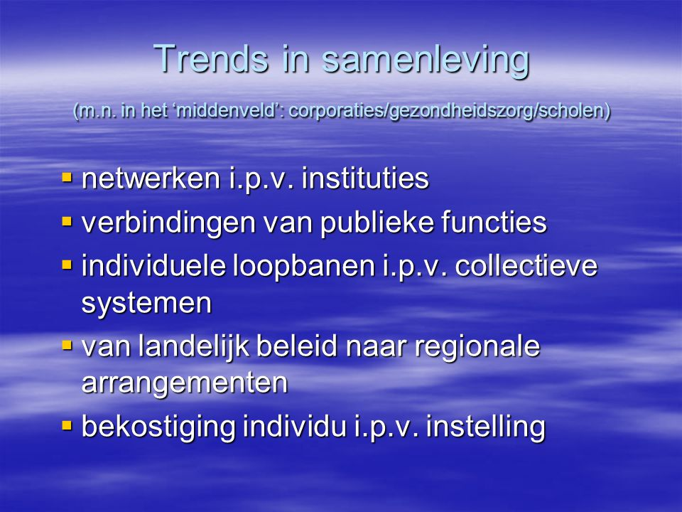 Trends in samenleving (m.n.