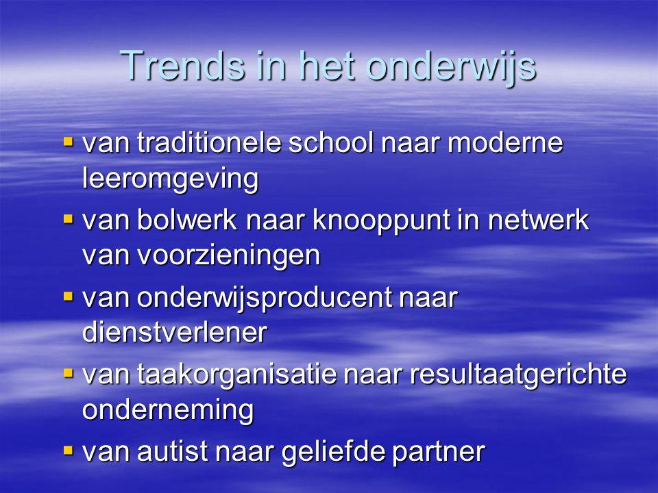 Trends in het onderwijs  van traditionele school naar moderne leeromgeving  van bolwerk naar knooppunt in netwerk van voorzieningen  van onderwijsp