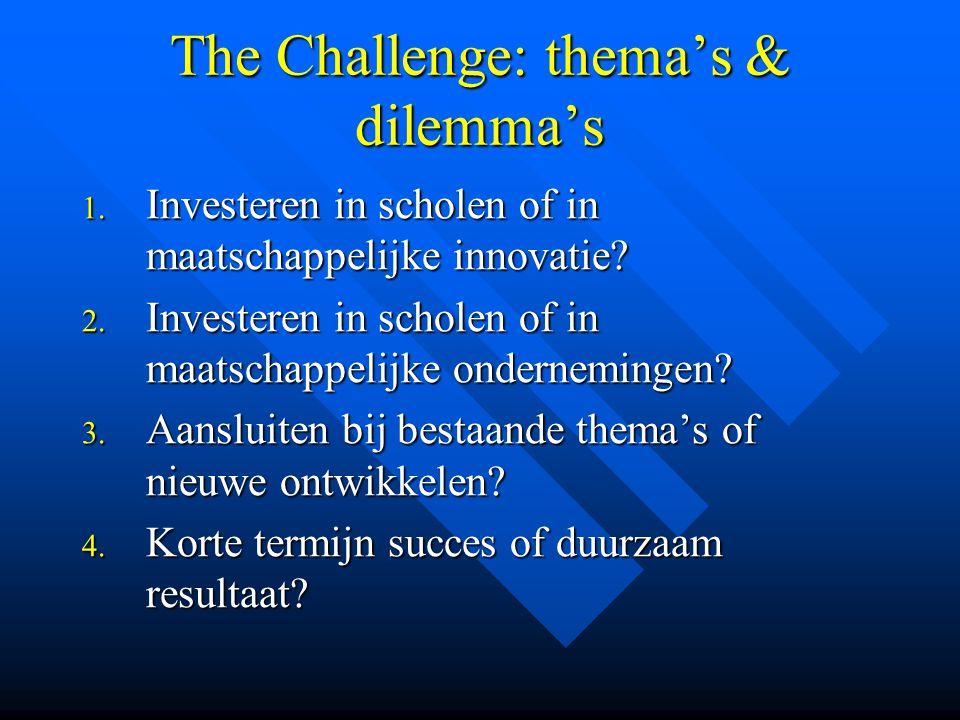 The Challenge: thema's & dilemma's 1. Investeren in scholen of in maatschappelijke innovatie? 2. Investeren in scholen of in maatschappelijke ondernem