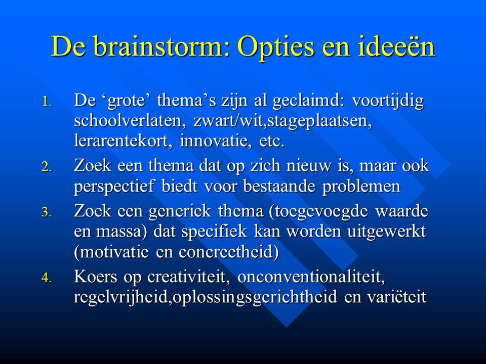 De brainstorm: Opties en ideeën 1.