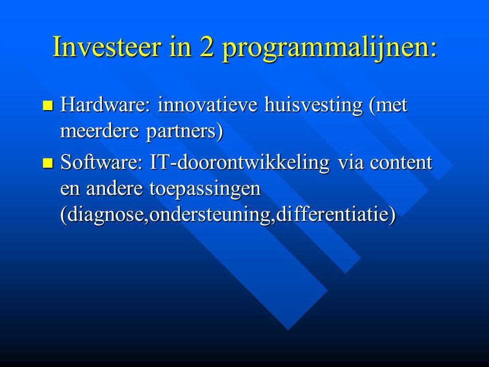 Investeer in 2 programmalijnen: Hardware: innovatieve huisvesting (met meerdere partners) Hardware: innovatieve huisvesting (met meerdere partners) Software: IT-doorontwikkeling via content en andere toepassingen (diagnose,ondersteuning,differentiatie) Software: IT-doorontwikkeling via content en andere toepassingen (diagnose,ondersteuning,differentiatie)