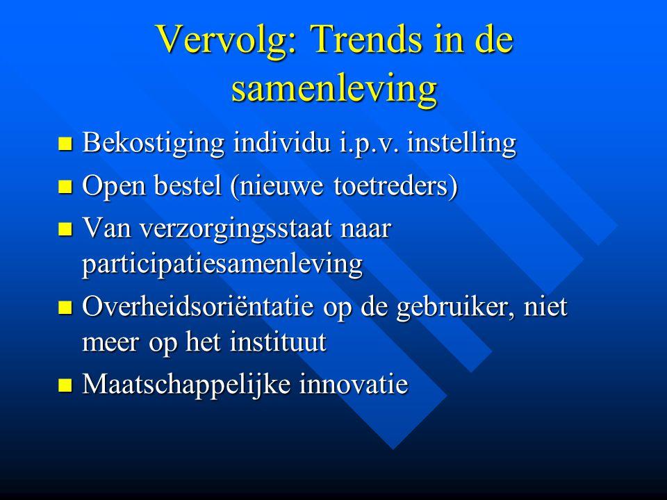 Vervolg: Trends in de samenleving Bekostiging individu i.p.v. instelling Bekostiging individu i.p.v. instelling Open bestel (nieuwe toetreders) Open b