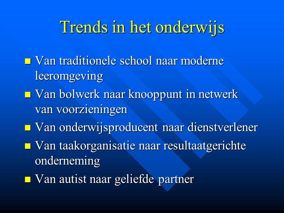 Trends in het onderwijs Van traditionele school naar moderne leeromgeving Van traditionele school naar moderne leeromgeving Van bolwerk naar knooppunt