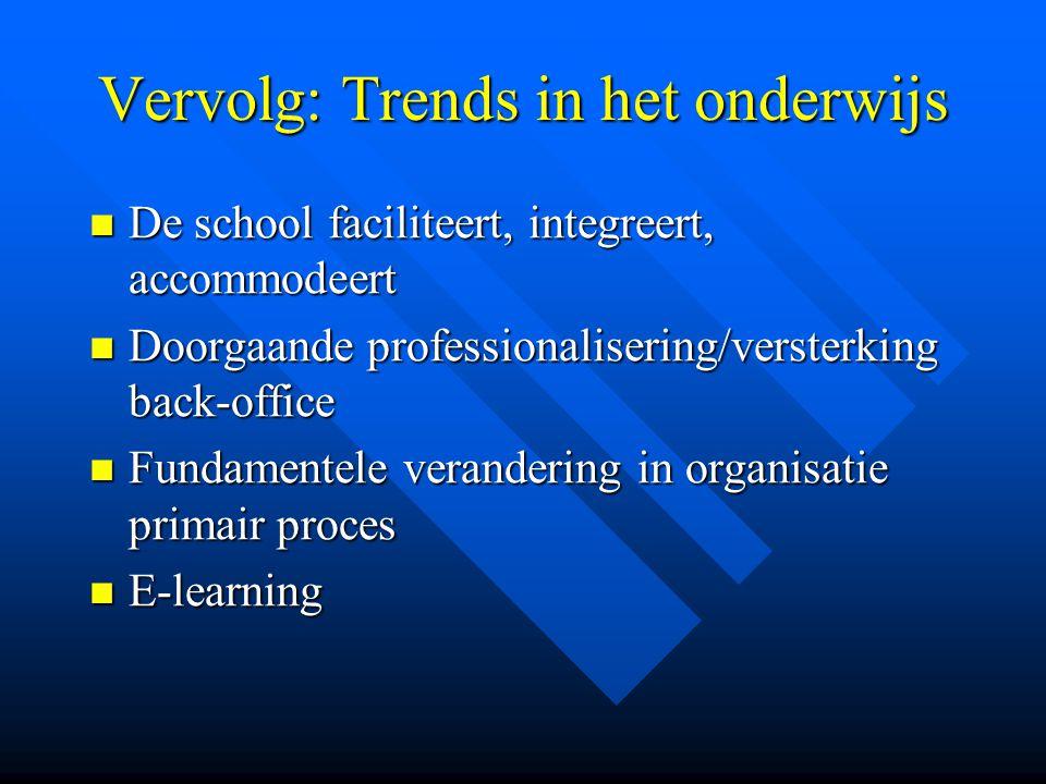 Vervolg: Trends in het onderwijs De school faciliteert, integreert, accommodeert De school faciliteert, integreert, accommodeert Doorgaande profession