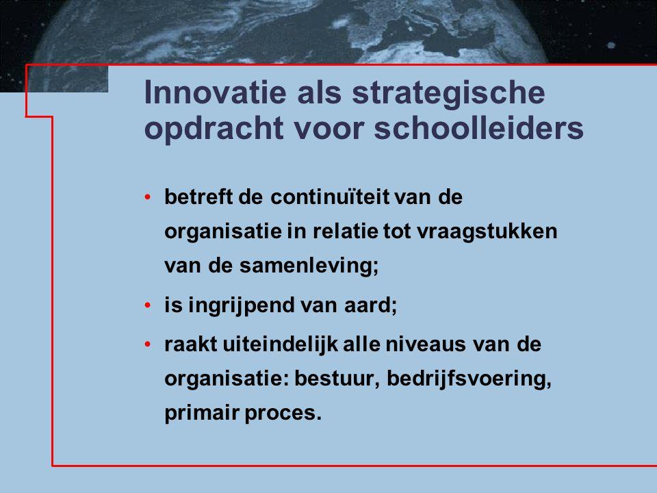 Innovatie als strategische opdracht voor schoolleiders betreft de continuïteit van de organisatie in relatie tot vraagstukken van de samenleving; is ingrijpend van aard; raakt uiteindelijk alle niveaus van de organisatie: bestuur, bedrijfsvoering, primair proces.