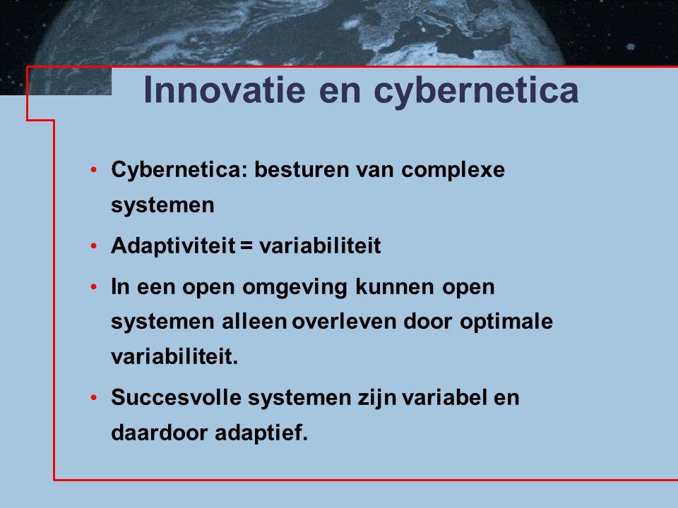 Innovatie en cybernetica Cybernetica: besturen van complexe systemen Adaptiviteit = variabiliteit In een open omgeving kunnen open systemen alleen overleven door optimale variabiliteit.