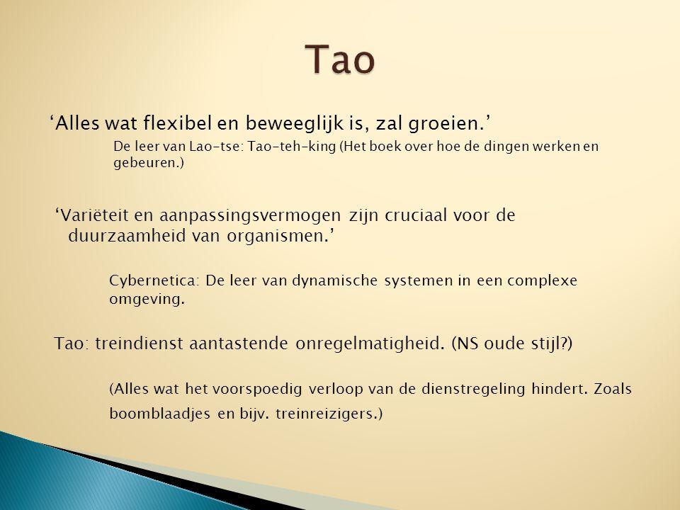 'Alles wat flexibel en beweeglijk is, zal groeien.' De leer van Lao-tse: Tao-teh-king (Het boek over hoe de dingen werken en gebeuren.) 'Variëteit en aanpassingsvermogen zijn cruciaal voor de duurzaamheid van organismen.' Cybernetica: De leer van dynamische systemen in een complexe omgeving.