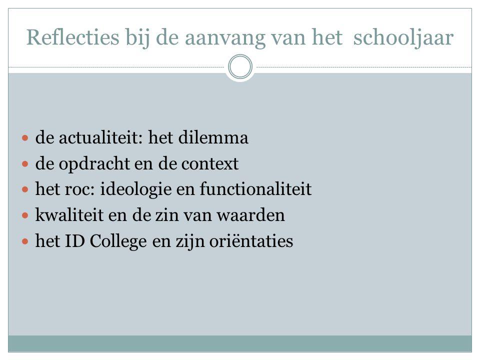 Reflecties bij de aanvang van het schooljaar de actualiteit: het dilemma de opdracht en de context het roc: ideologie en functionaliteit kwaliteit en