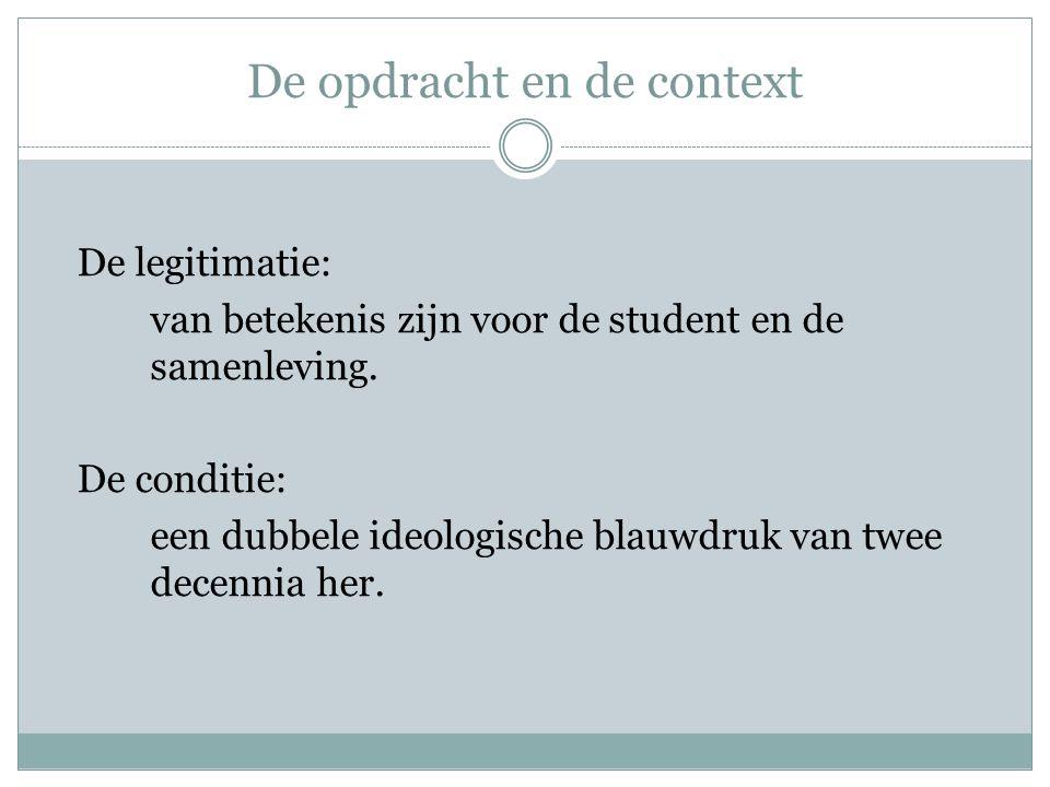 De opdracht en de context De legitimatie: van betekenis zijn voor de student en de samenleving. De conditie: een dubbele ideologische blauwdruk van tw