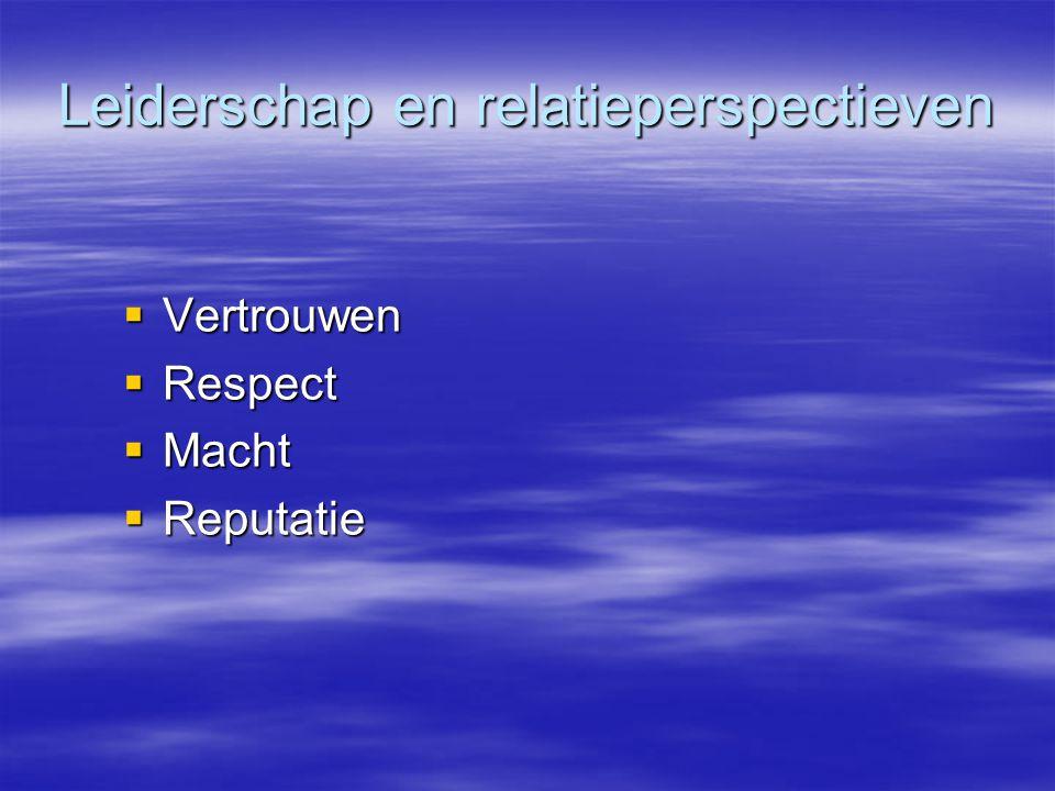 Leiderschap en relatieperspectieven  Vertrouwen  Respect  Macht  Reputatie