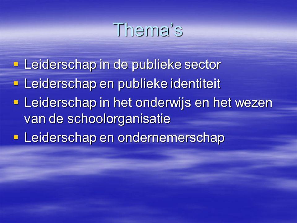 Thema's  Leiderschap in de publieke sector  Leiderschap en publieke identiteit  Leiderschap in het onderwijs en het wezen van de schoolorganisatie  Leiderschap en ondernemerschap