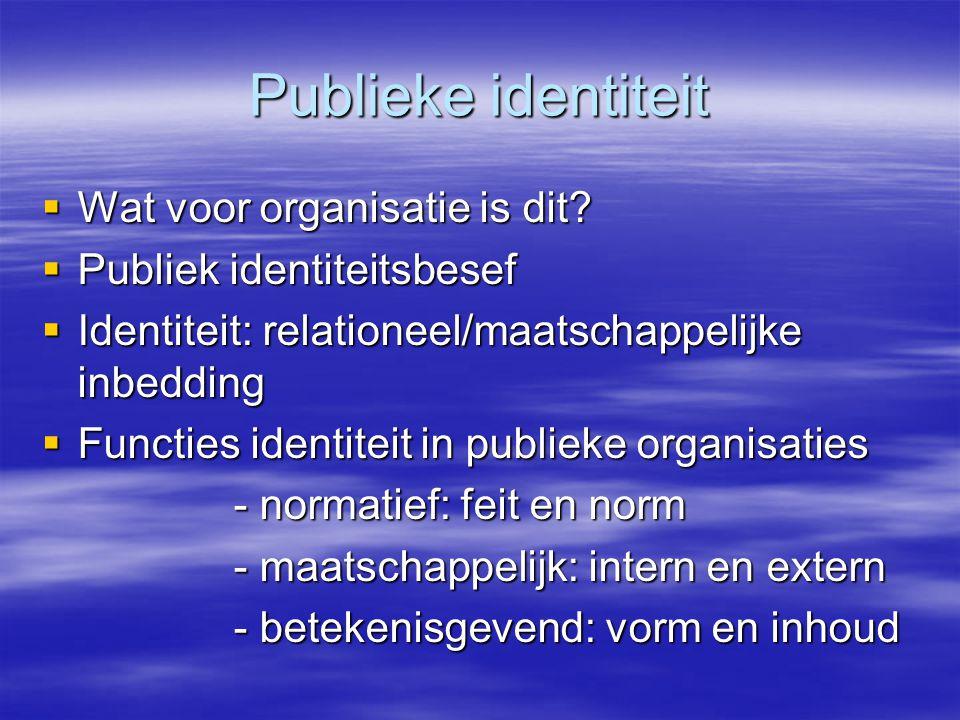 Publieke identiteit  Wat voor organisatie is dit.