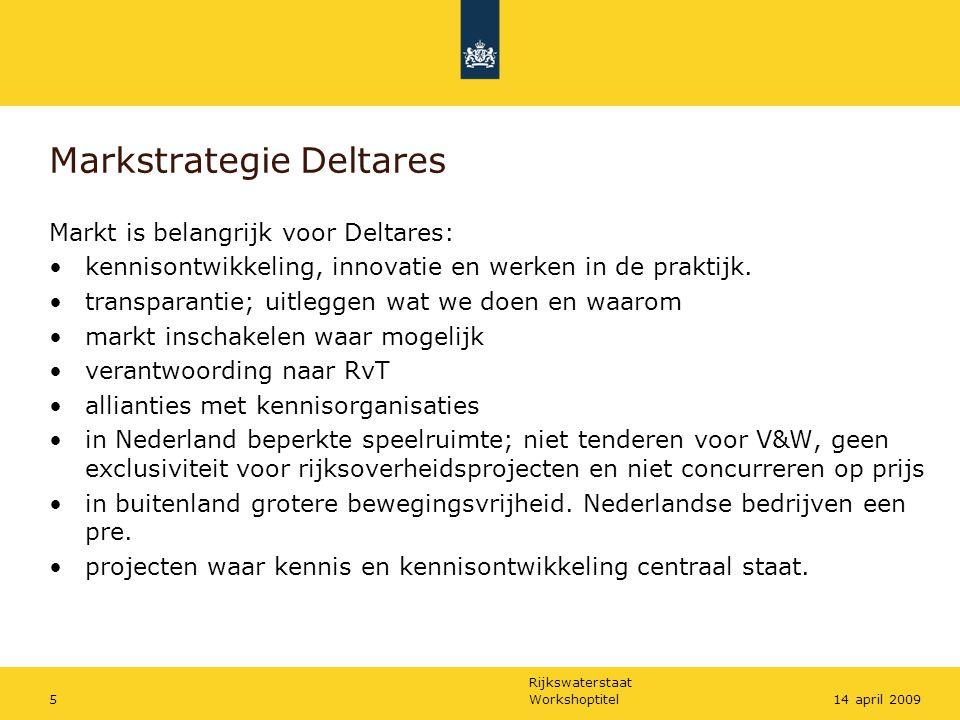 Rijkswaterstaat Workshoptitel514 april 2009 Markstrategie Deltares Markt is belangrijk voor Deltares: kennisontwikkeling, innovatie en werken in de pr