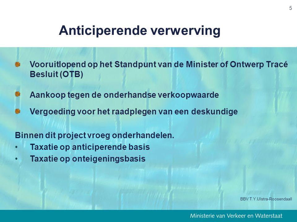 5 Anticiperende verwerving Vooruitlopend op het Standpunt van de Minister of Ontwerp Tracé Besluit (OTB) Aankoop tegen de onderhandse verkoopwaarde Vergoeding voor het raadplegen van een deskundige Binnen dit project vroeg onderhandelen.