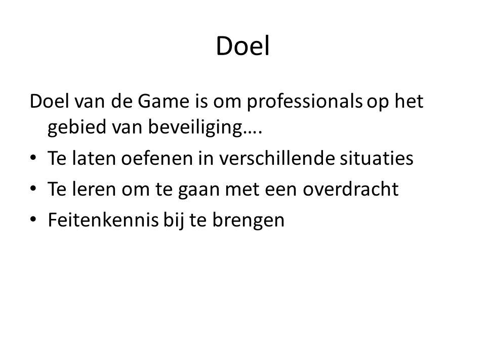 Doel Doel van de Game is om professionals op het gebied van beveiliging….