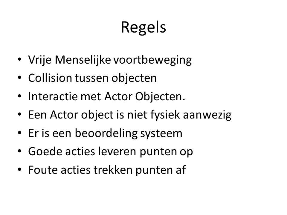 Regels Vrije Menselijke voortbeweging Collision tussen objecten Interactie met Actor Objecten.