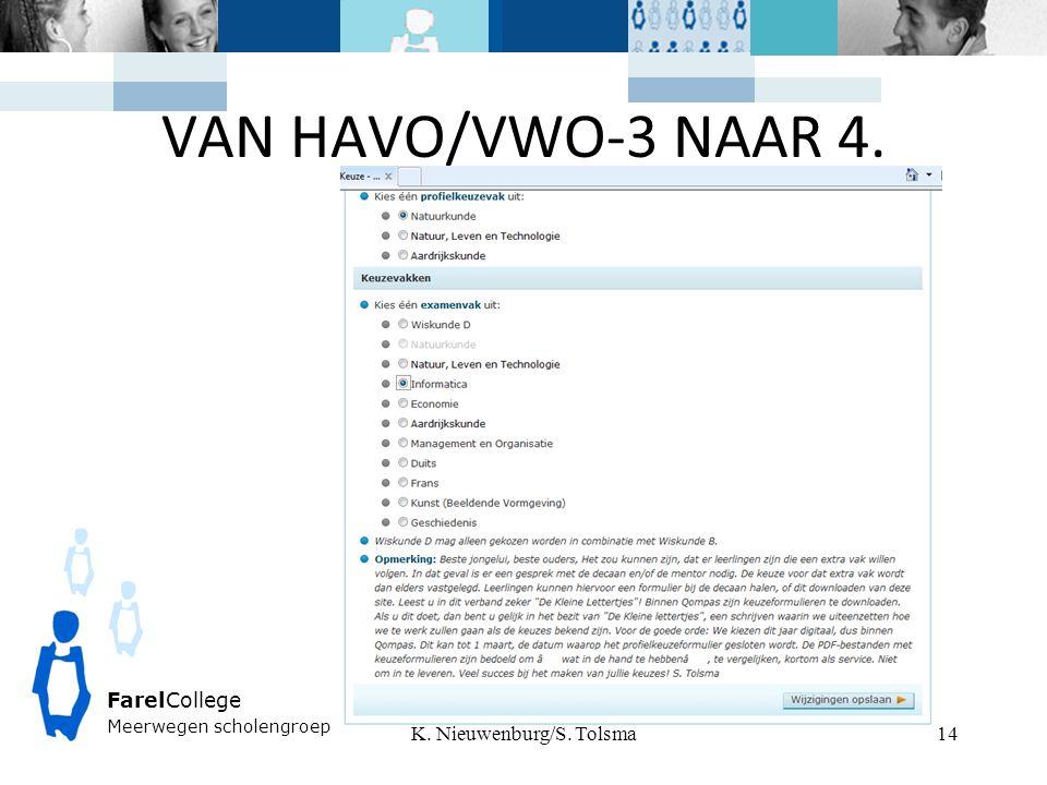 VAN HAVO/VWO-3 NAAR 4. K. Nieuwenburg/S. Tolsma FarelCollege Meerwegen scholengroep 14