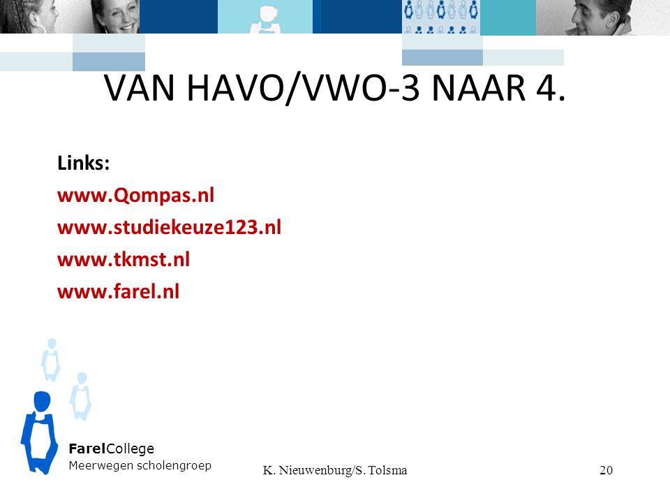 VAN HAVO/VWO-3 NAAR 4. Links: www.Qompas.nl www.studiekeuze123.nl www.tkmst.nl www.farel.nl K.