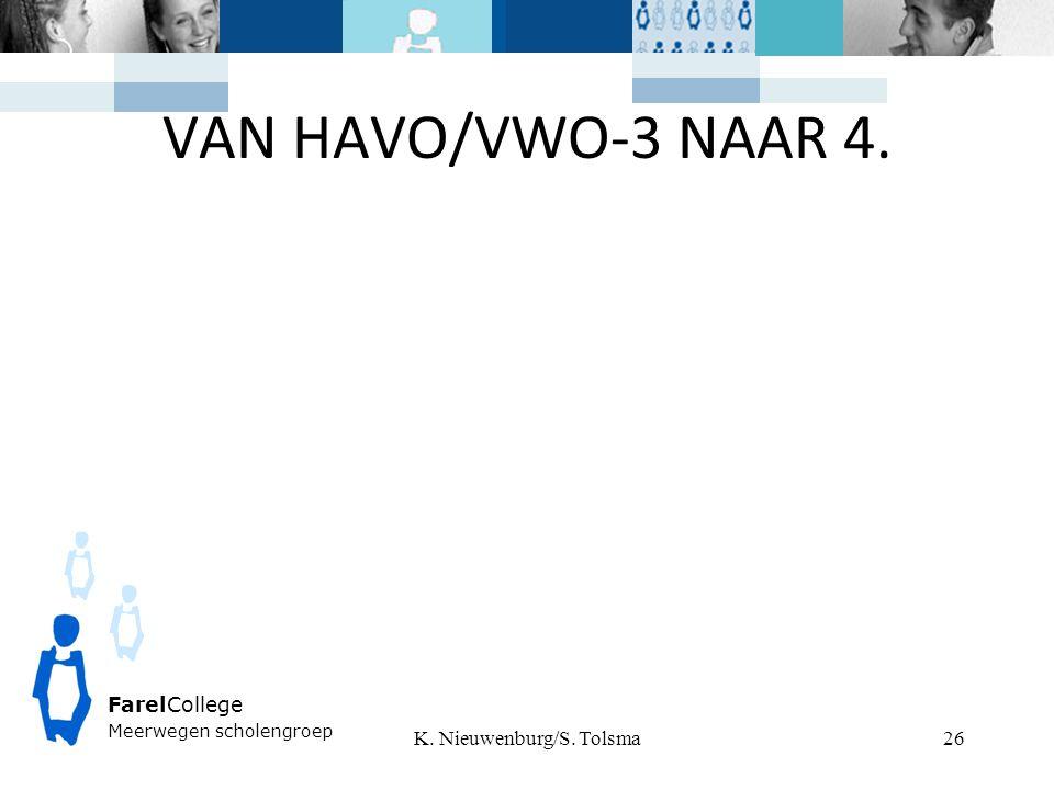 VAN HAVO/VWO-3 NAAR 4. K. Nieuwenburg/S. Tolsma FarelCollege Meerwegen scholengroep 26