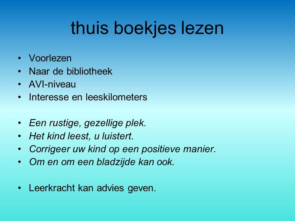 thuis boekjes lezen Voorlezen Naar de bibliotheek AVI-niveau Interesse en leeskilometers Een rustige, gezellige plek. Het kind leest, u luistert. Corr
