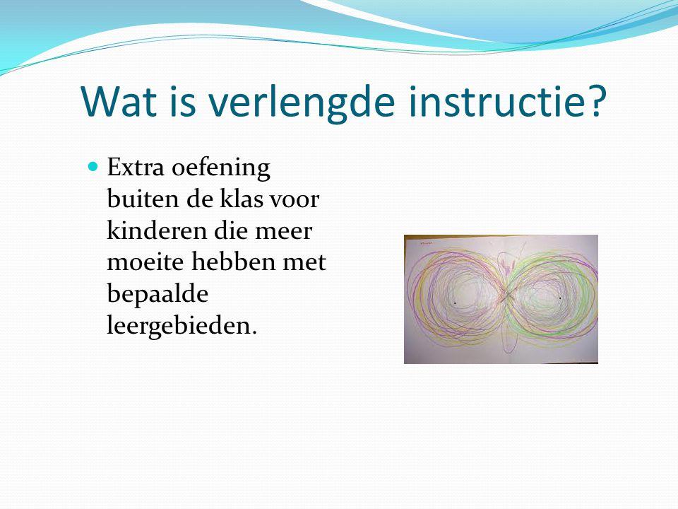 Wat is verlengde instructie? Extra oefening buiten de klas voor kinderen die meer moeite hebben met bepaalde leergebieden.