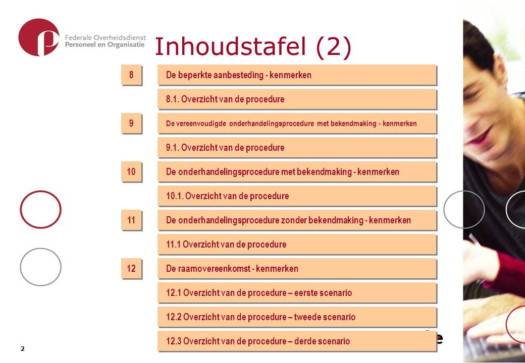 2 2 Inhoudstafel (2) 8 8 De beperkte aanbesteding - kenmerken 8.1. Overzicht van de procedure 9 9 10 11 12 De vereenvoudigde onderhandelingsprocedure