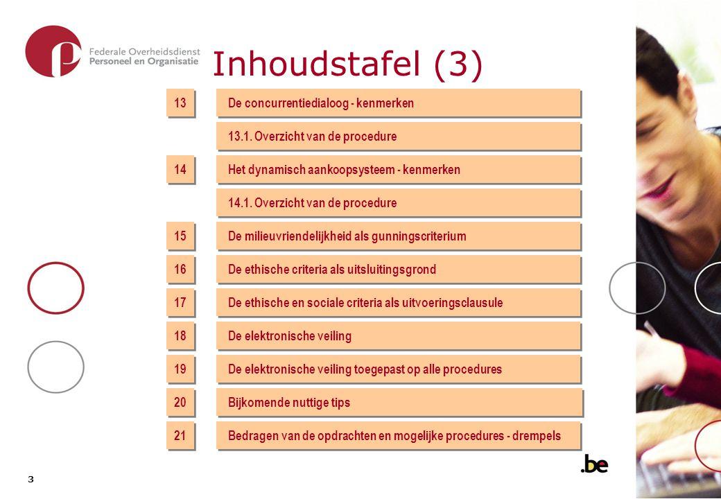 3 3 Inhoudstafel (3) 13 De concurrentiedialoog - kenmerken 13.1. Overzicht van de procedure 14 15 17 19 Het dynamisch aankoopsysteem - kenmerken 14.1.