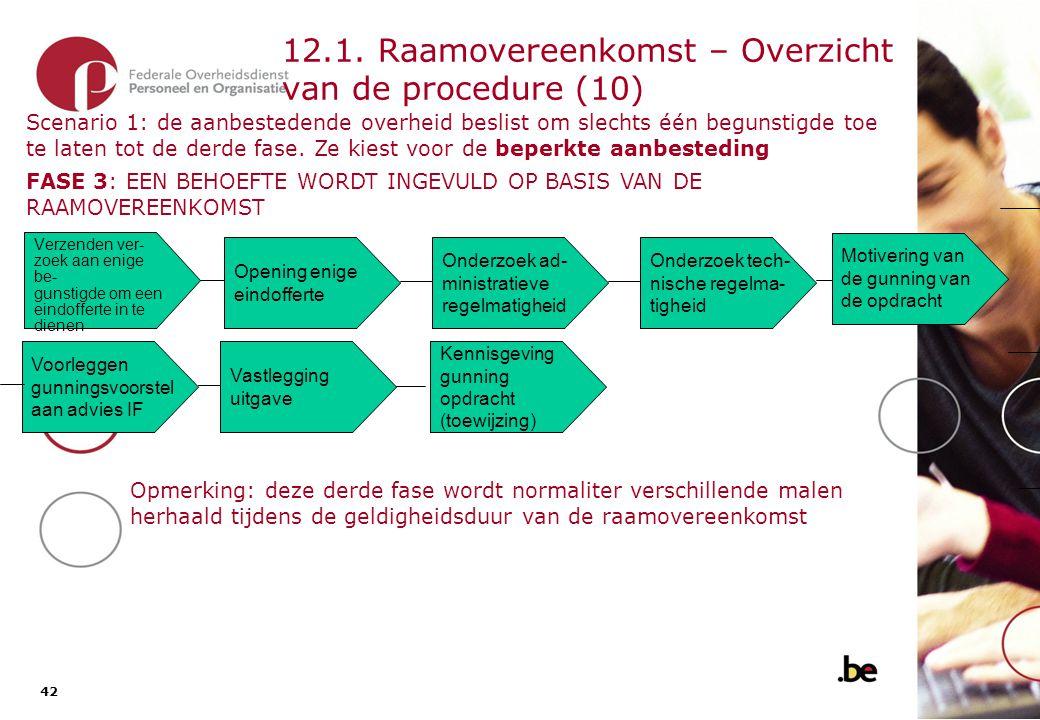 42 12.1. Raamovereenkomst – Overzicht van de procedure (10) Opening enige eindofferte Verzenden ver- zoek aan enige be- gunstigde om een eindofferte i