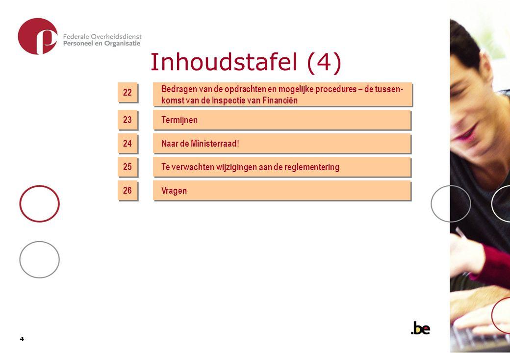 4 4 Inhoudstafel (4) 24 Naar de Ministerraad! Te verwachten wijzigingen aan de reglementering 26 Vragen 25 22 23 Bedragen van de opdrachten en mogelij