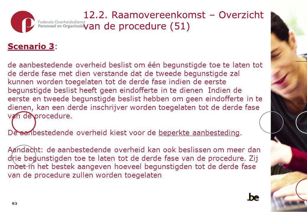 93 12.2. Raamovereenkomst – Overzicht van de procedure (51) Scenario 3: de aanbestedende overheid beslist om één begunstigde toe te laten tot de derde