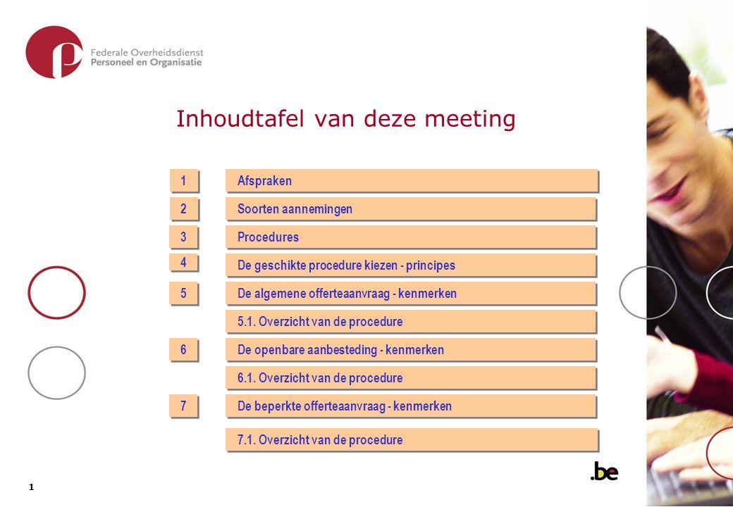 1 1 Inhoudtafel van deze meeting 1 1 2 2 Afspraken Soorten aannemingen 3 3 4 4 5 5 6 6 7 7 Procedures De geschikte procedure kiezen - principes De algemene offerteaanvraag - kenmerken 5.1.