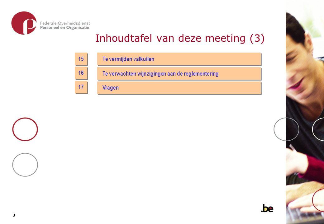 3 3 Inhoudtafel van deze meeting (3) 15 Te vermijden valkuilen 16 17 Te verwachten wijnzigingen aan de reglementering Vragen