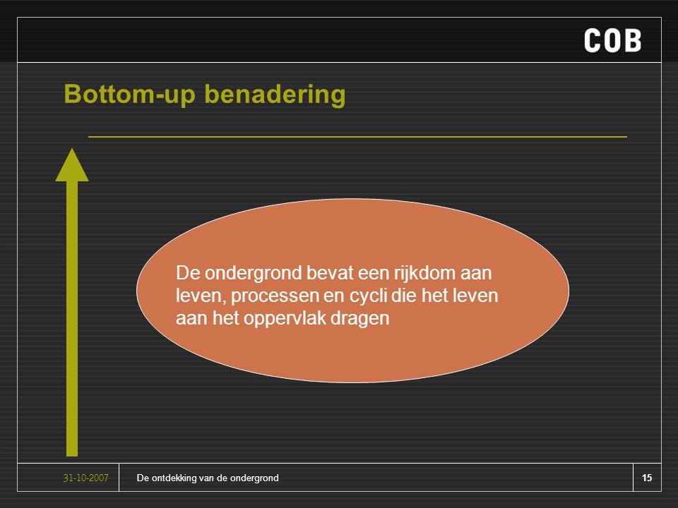 15De ontdekking van de ondergrond31-10-2007 Bottom-up benadering De ondergrond bevat een rijkdom aan leven, processen en cycli die het leven aan het oppervlak dragen