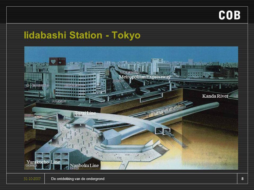 8De ontdekking van de ondergrond31-10-2007 Iidabashi Station - Tokyo Metropolitan Expressway Tozai Line Yurakucho Line Nanboku Line Kanda River