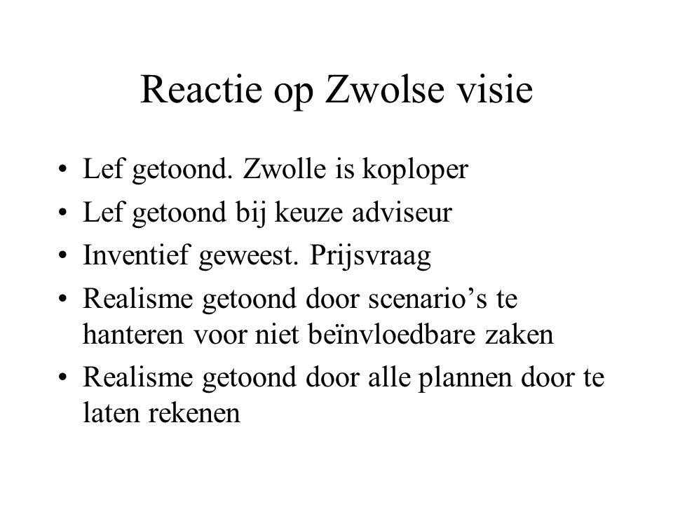 Reactie op Zwolse visie Lef getoond.